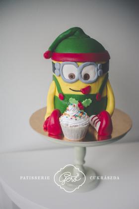 Zöld ruhás minion torta